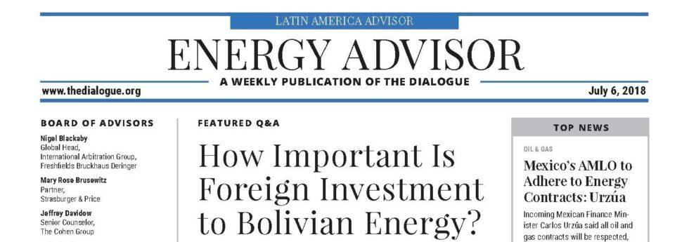 ¿Qué tan importante es la inversión extranjera para la energía boliviana?